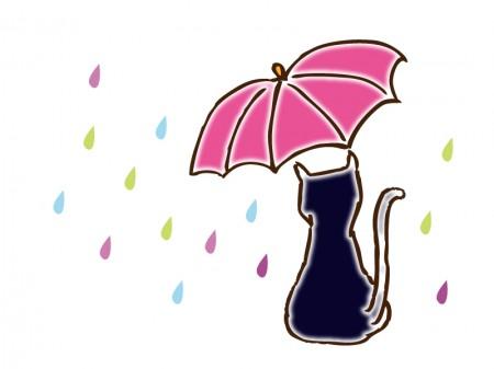 雨とネコ・イラスト素材