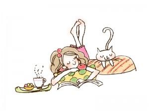 ネコと女の子イラスト素材02 イラスト無料かわいいテンプレート