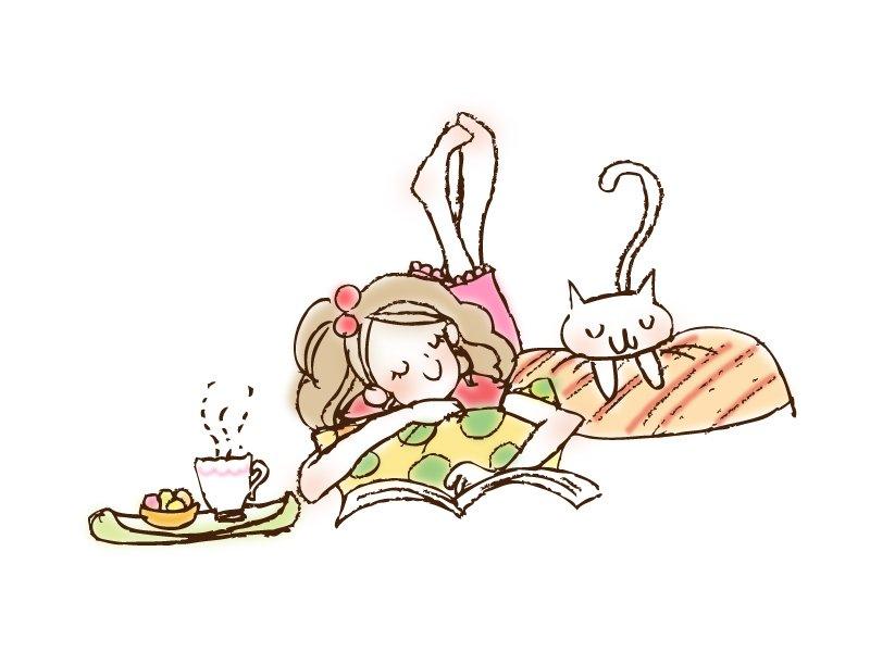 ネコと女の子・イラスト素材02
