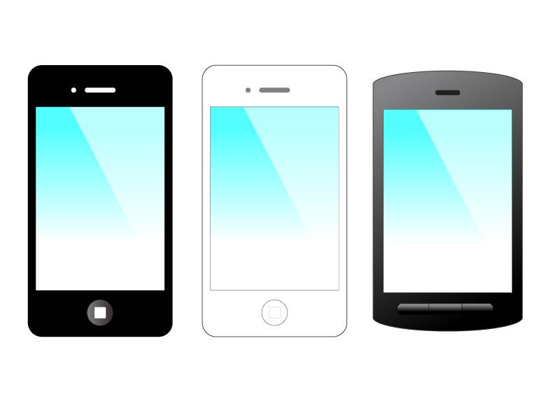 スマートフォン(スマホ)iPhone・Android風イラスト・アイコン素材