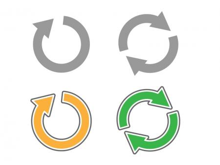 回転矢印・カーソル・リサイクルイラストアイコン01