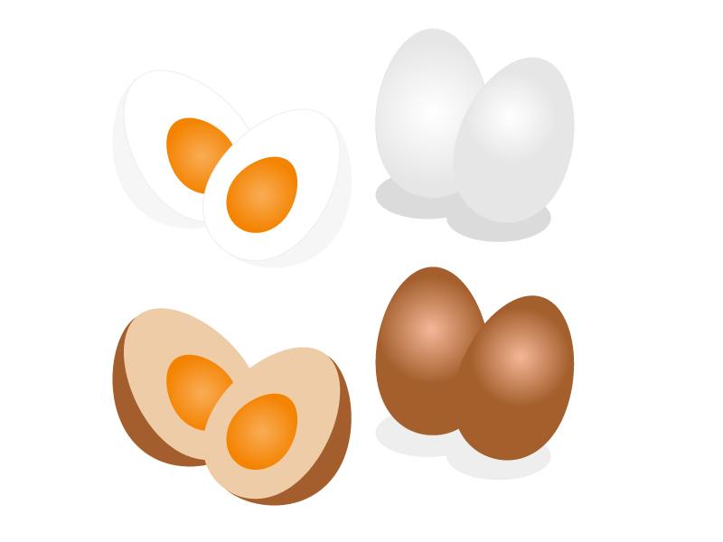 ゆで卵・煮玉子イラスト素材