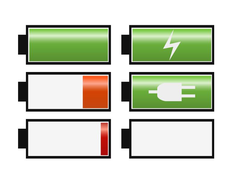 電池・充電バッテリーイラスト・アイコン素材01 無料ダウンロード