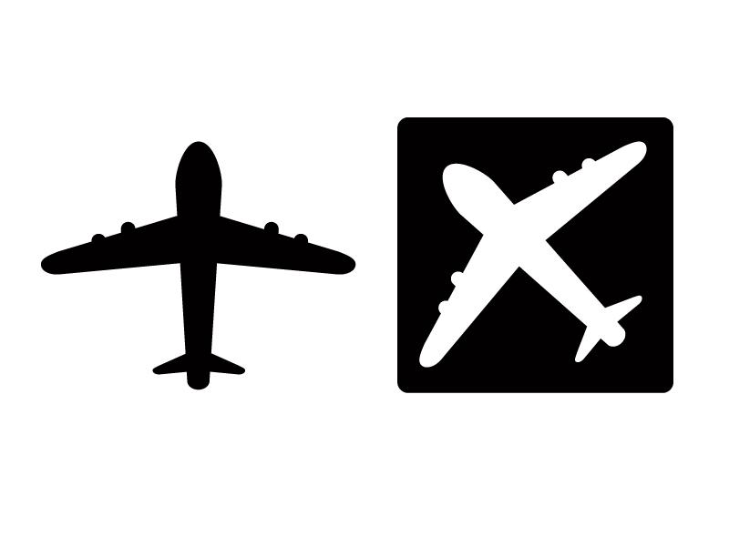 飛行機イラスト・シルエット素材01 無料ダウンロード