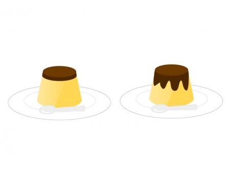 プリン・デザートイラスト素材01 無料ダウンロード