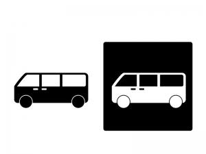 車・ワンボックス(1BOX)カーシルエットイラスト素材 無料ダウンロード