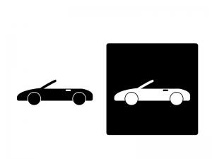 車・オープンカーシルエットイラスト素材 無料ダウンロード