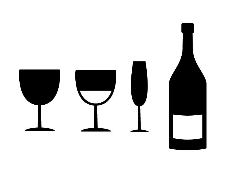 ワイン・ボトル・グラスシルエットイラスト素材01 無料ダウンロード