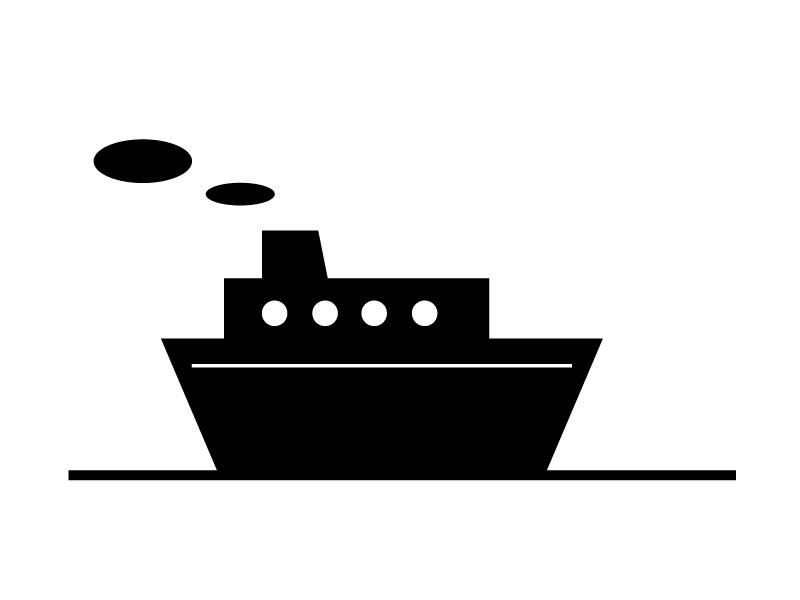 船・フェリーシルエット素材01 無料ダウンロード