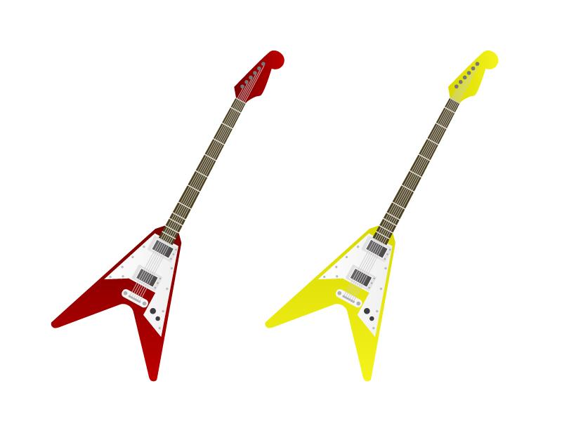 ギター・楽器イラスト素材03 無料ダウンロード