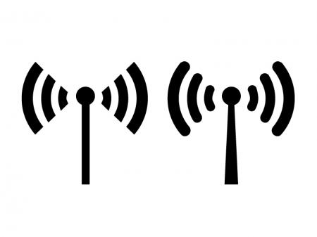 無線・電波・アンテナシルエットイラスト素材01 無料ダウンロード