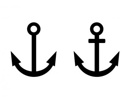 碇・船・港シルエットイラスト素材01 無料ダウンロード