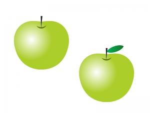 青りんご(林檎)・果物イラスト素材01 無料ダウンロード