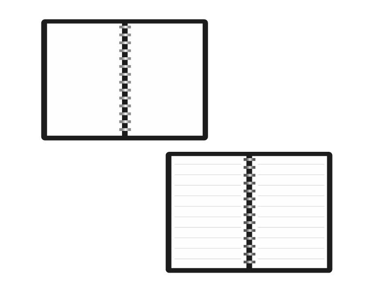 ページ開きメモ帳・ノートのイラスト素材 無料ダウンロード