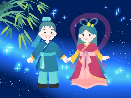 七夕イラストー織姫さまと彦星さま 無料イラストダウンロード