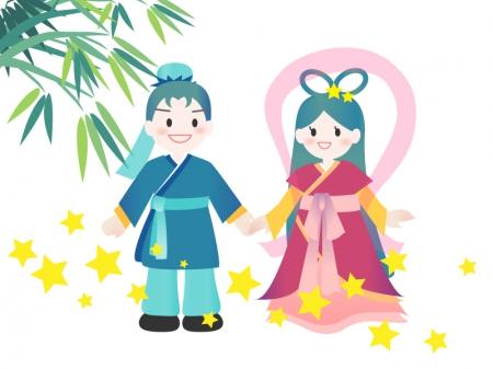 七夕イラストー織姫さまと彦星さま(白背景) 無料イラストダウンロード