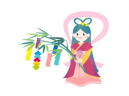 笹飾りと織姫さま 無料イラストダウンロード