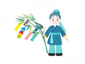 七夕イラストー笹飾りと彦星さま 無料イラストダウンロード