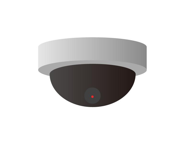 ドーム型の防犯・監視カメライラスト素材 無料ダウンロード