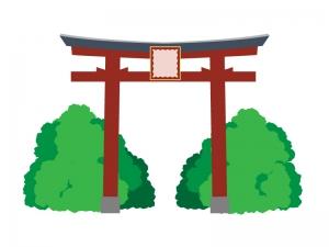 緑の中の赤い鳥居イラスト素材 無料イラストダウンロード