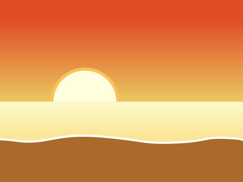 夕焼けの砂浜・ビーチイラスト素材