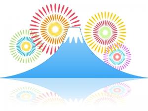 富士山と花火のイラスト素材