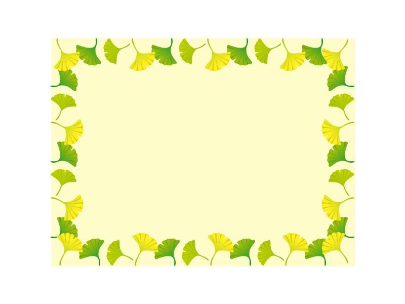 銀杏(いちょう)の葉の飾り枠・フレーム素材