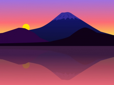 夕焼けと富士山のイラスト素材 ... : 都道府県 地図 画像 : 都道府県