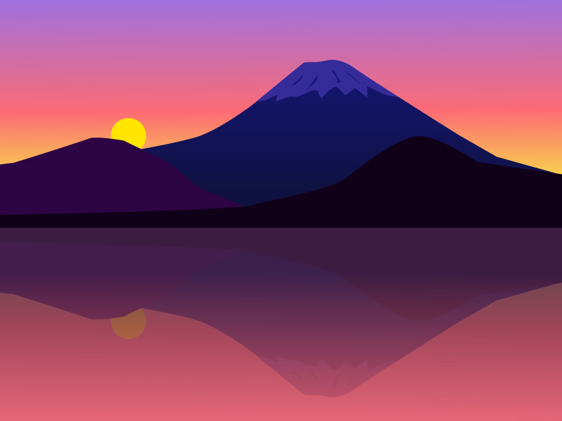 夕焼けと富士山のイラスト素材