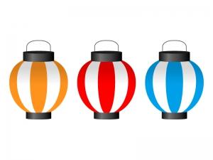 提灯(ちょうちん)3色セットイラスト素材