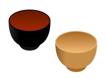 味噌汁茶碗のイラスト素材