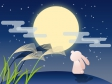 お月見をしているうさぎのイラスト素材