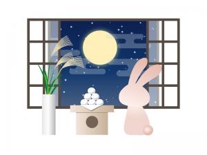 窓からお月見をしているうさぎのイラスト素材
