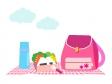 ピンクのリュックとお弁当のイラスト素材