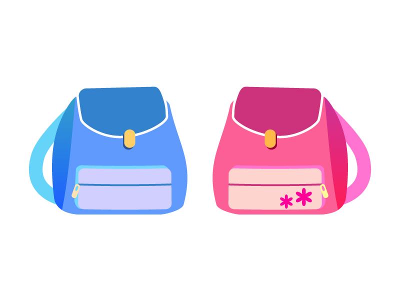 ピンクとブルーのリュックのイラスト素材