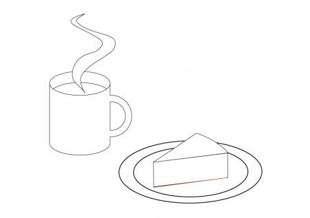 ぬりえ素材・飲み物とケーキ