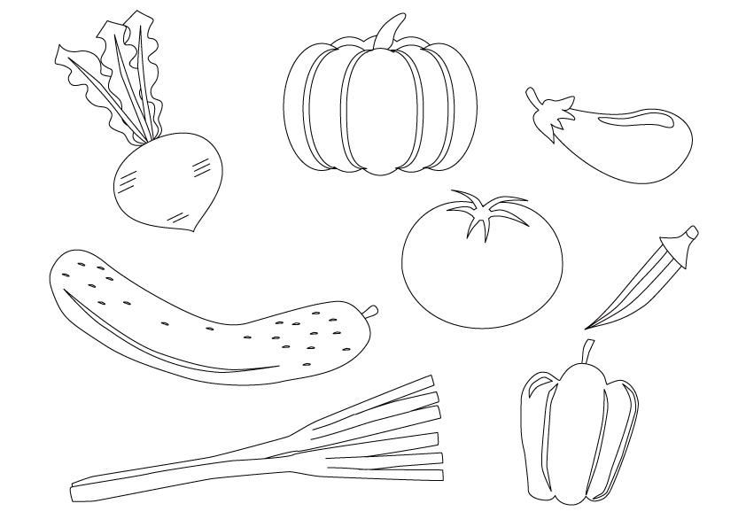 ぬりえ素材・野菜