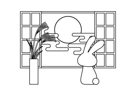 ぬりえ素材窓からお月見をしているうさぎ2 イラスト無料かわいい
