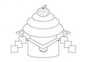ぬりえ素材お正月鏡餅 イラスト無料かわいいテンプレート