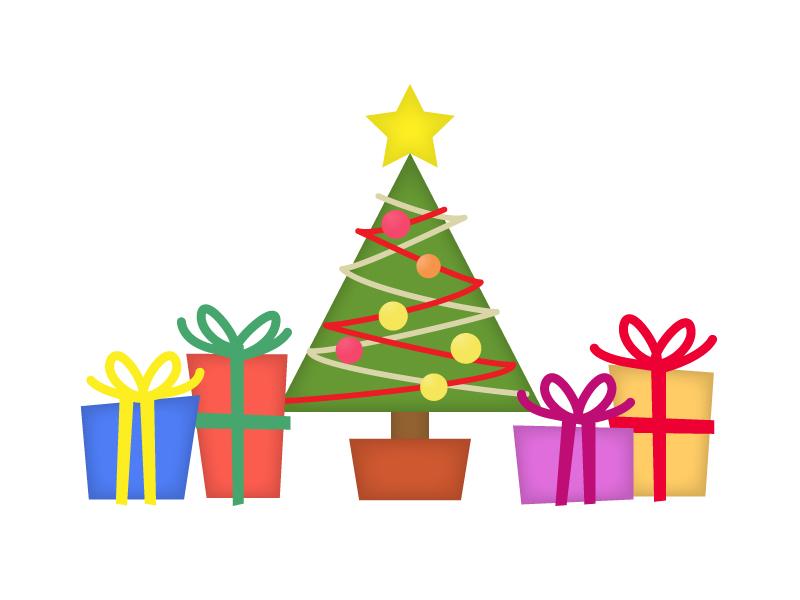 クリスマスツリーとプレゼントのイラスト素材