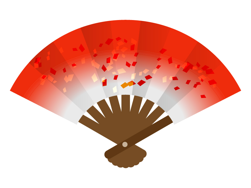 扇子(赤色)のイラスト素材