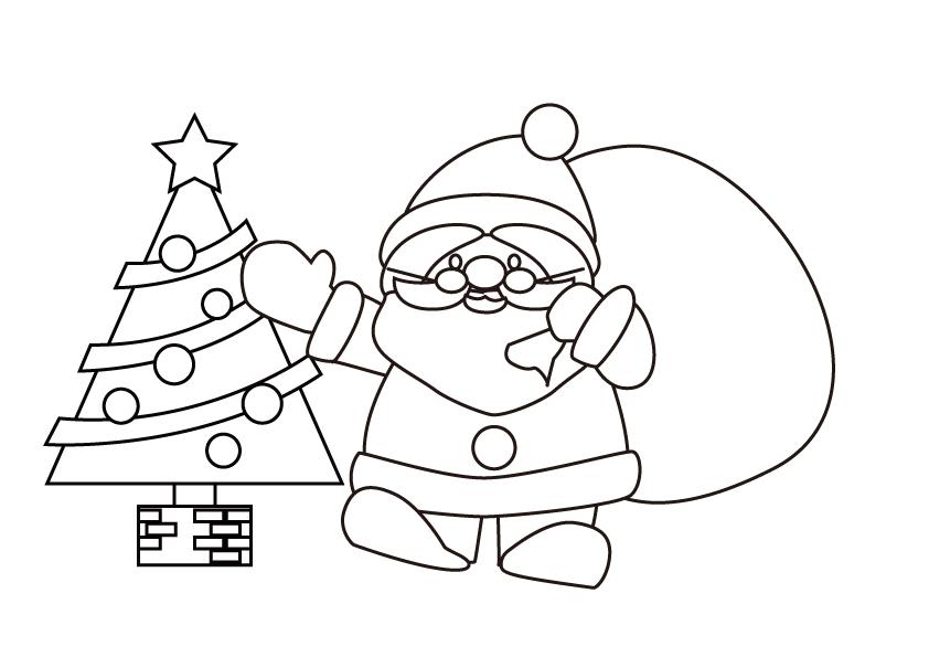 サンタクロースとクリスマスツリーのぬりえ素材