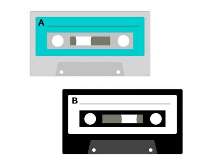 カセットテープのイラスト素材
