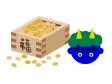節分の豆と青鬼のイラスト素材