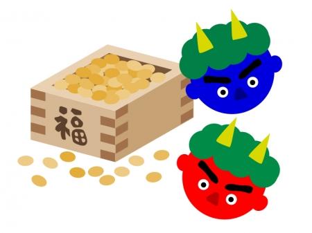 節分の豆と赤鬼・青鬼のイラスト素材