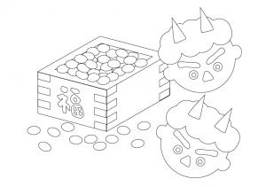 ぬりえ素材・節分の豆と青鬼