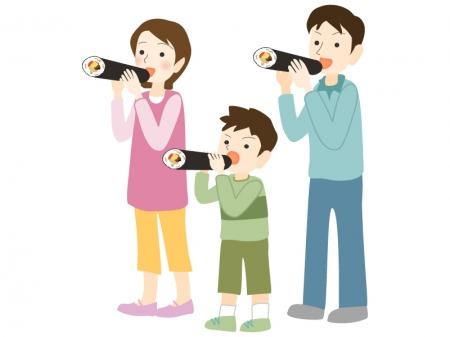 恵方巻きを食べている家族のイラスト素材