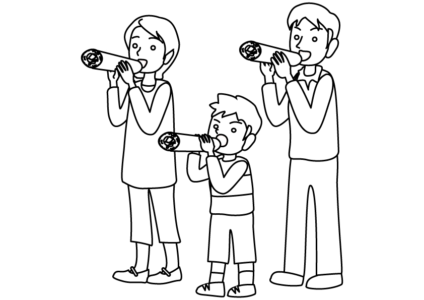 ぬりえ素材・恵方巻きを食べている家族