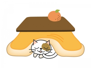 こたつとネコとみかんのイラスト素材