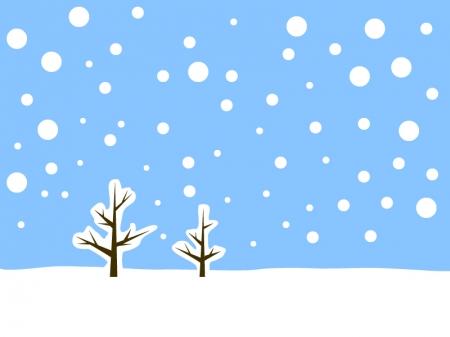 シンプルな雪景色のイラスト素材